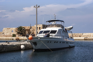 Boat in Chania Harbour in Crete, Greece