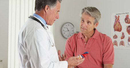 Senior doctor explaining heart to elderly patient