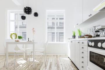 Moderne Küche mit Esstisch in neuem Haus