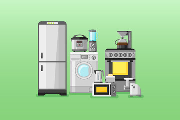 Kitchen appliances horizontal banners. Flat style vector illustration.