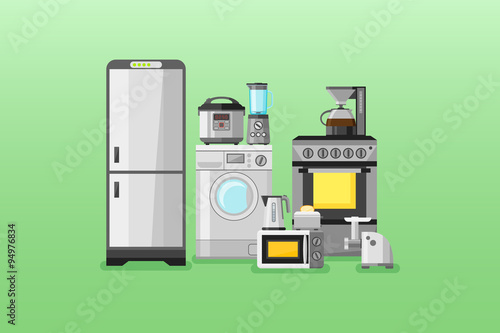 Kitchen Appliances Horizontal Banners Flat Style Vector