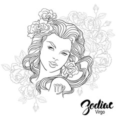 Zodiac. Vector illustration of Virgo as girl with flowers.