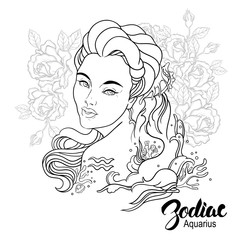 Zodiac. Vector illustration of Aquarius as girl with flowers.