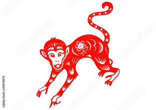 Monkey Chinese Folk Paper Cutting Symbol Of 2016 New Year Stock