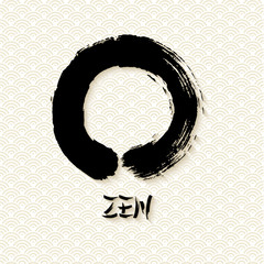 Simple Zen circle illustration traditional enso