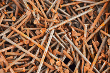 Rusty nail, close up, as background, DOF