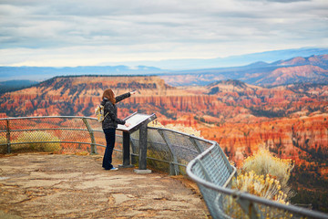Tourist enjoying scenic view in Bryce Canyon National Park, Utah, USA