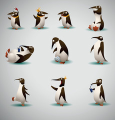 Vector Set of Funny Penguins. Cartoon image of ten funny penguins of various shapes  on a light background.