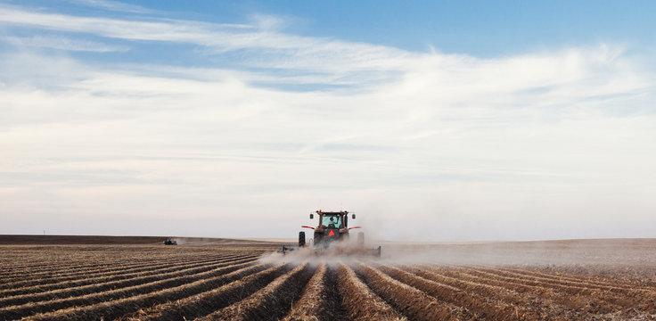 Tractor planting a potato crop