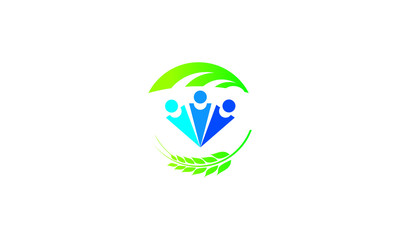Green and blue people symbols of eco life logo