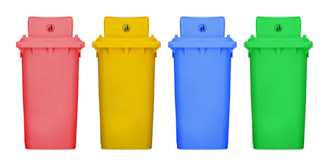Different colors recycle bin isolated white background