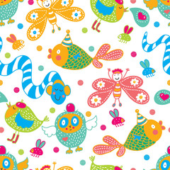 Cheerful party. Kids seamless pattern. Seamless pattern can be used for wallpaper, pattern fills, web page background, postcards.