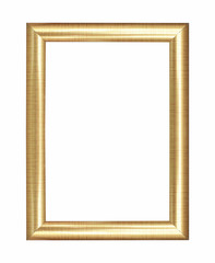 Wooden gold frame vintage isolated background,  use clipping pat