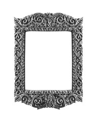 Wooden Silver frame vintage isolated background.