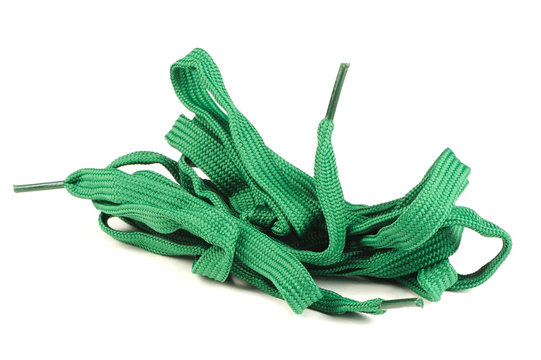 Green Shoelaces Isolated on White Background