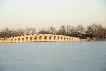 Seventeen Hole Bridge in Summer Palace, Beijing of China