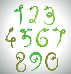 Vector Snakes digits, green. Cartoon image of the green snakes in the form of digits on a light background.