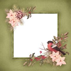 Christmas retro watercolor decorative frame