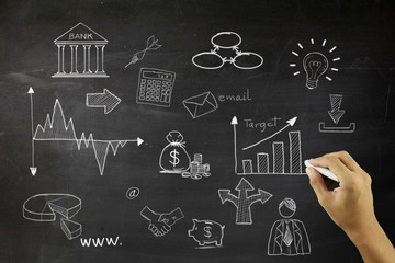 Business concept: Chalk White Light Bulb icon on School Board background with Hand Drawn Business finance Icons