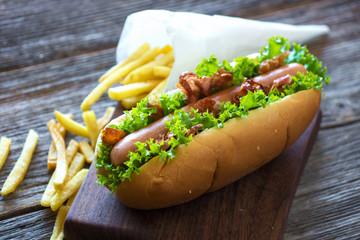 Hotdog  with bacon