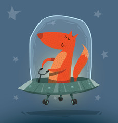 Vector Fox in UFO. Cartoon image of a ginger fox sitting in a gray UFO on a blue star background.