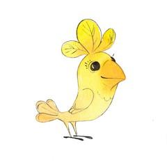 Yellow bird. Watercolor cartoon illustration