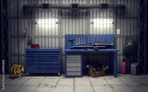 Garage Workshop 3d Rendering Stockfotos Und Lizenzfreie Bilder Auf