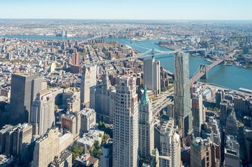 Downtown New York aerial view  with Brooklyn and Manhattan Bridg