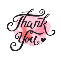 Thank You hand drawn lettering for vintage greeting card.