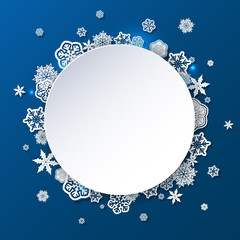 Winter background with snowflakes with place for text