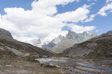 Tibet snow mountain with Grassland