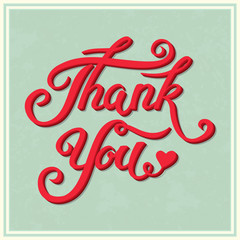 Thank You hand drawn lettering with shadow for vintage greeting