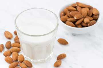 almond milk in a glass, closeup