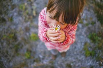 Girl holding a daisy