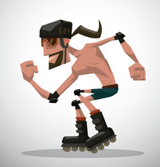 Vector cartoon image of a guy with black hair and beard wearing blue shorts, brown sunglasses and black helmet on his head, riding on a black roller skates on a light background.