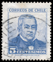 Stamp printed in Chile, shows portrait of Manuel Montt Torres