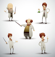 Vector Set of Scientists. Cartoon image of funny five different scientists in white coats on a light background.