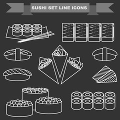 Sushi Plate big icon set