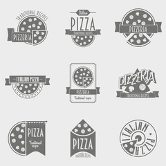 Vector illustration Pizza Logo set. Black and white Pizzeria label or Logo concepts for the Italian restaurant and cafe.