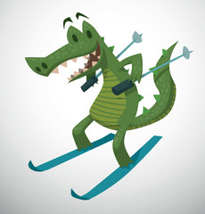 Vector Crocodile skiing. Cartoon image of a green crocodile standing on a blue skis with blue ski poles in his paws on a light background.