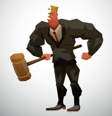Vector Muscular Lawyer with gavel. Cartoon image of a muscular man lawyer in a black suit, white shirt and red tie, with a large brown judge's gavel in his hand on a light background.