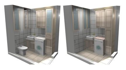 bathroom, Laundry room, 3D-render interior design