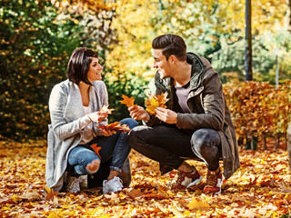 Couple in autumnal surrounding
