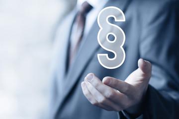 Businessman hand press paragraph symbol button