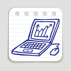 Doodle Laptop icon with chart.