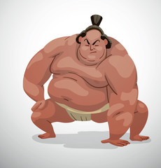 "Vector cartoon image of a sumo wrestler with black hair in a white belt ""mawashi"" in the squat position with a lowered hand on a light background."