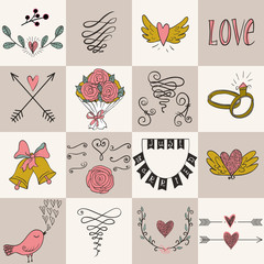Set of icons for Valentines day, Mothers day, wedding, love and romantic events.