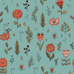 Vector seamless floral pattern with garden flowers. Hand drawn  flowers and leaves.