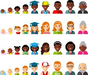 Set of age group avatars in colorful style