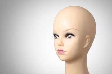 Closeup of a female mannequin head
